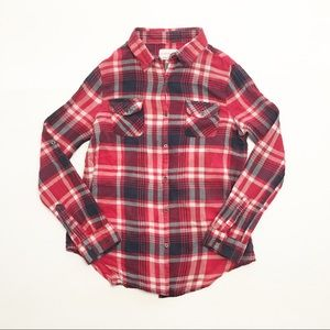 Cotton On Red + Navy Plaid Button Up Shirt (S)